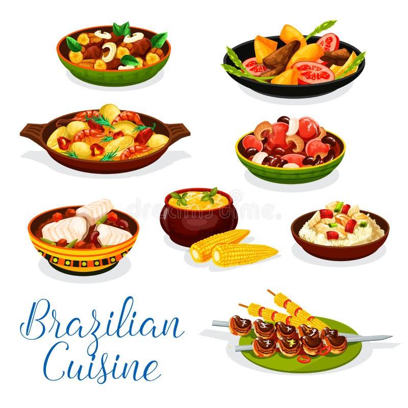 La cuisine brésilienne a grillé la viande, ragoût de haricot de fruits de mer illustration stock