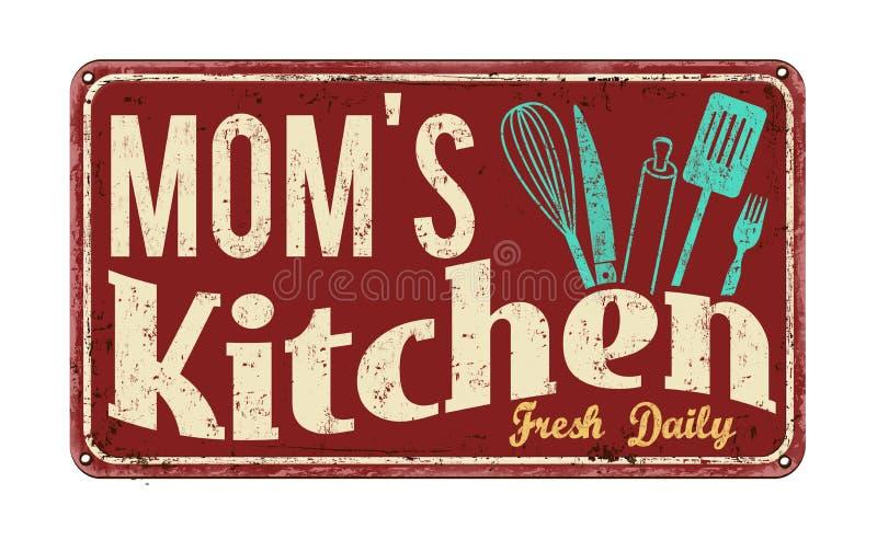 La cuisine de la maman sur le signe rouillé en métal de vintage illustration de vecteur