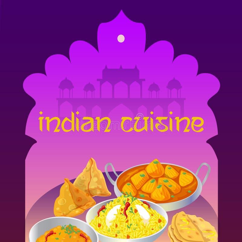 La cuisine indienne bombe l'affiche illustration de vecteur