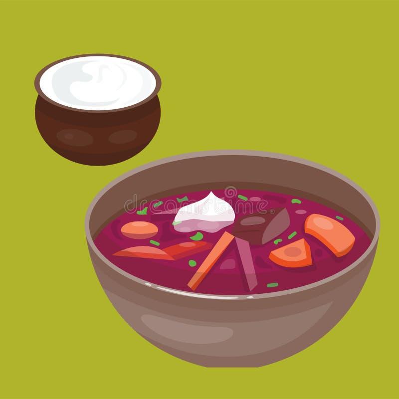 La cuisine nationale russe de borscht de soupe et la boîte de Pétri chassent l'illustration nationale de vecteur de repas de nour illustration stock