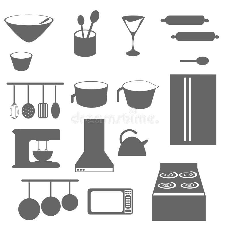 La cuisine objecte la silhouette illustration de vecteur