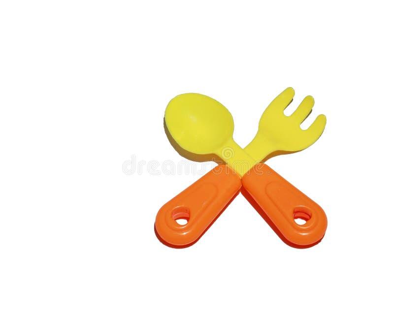 La cuisine a placé pour des enfants - des cuillères et des fourchettes image libre de droits