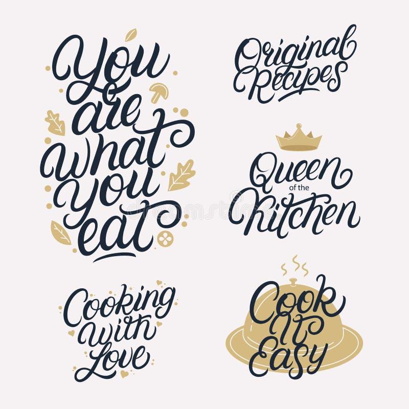 La cuisine a rapporté marquer avec des lettres l'ensemble de calligraphie illustration libre de droits