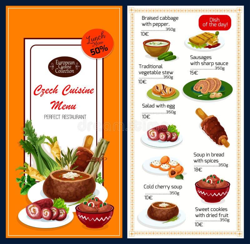 La cuisine tchèque bombe le menu de vecteur illustration stock