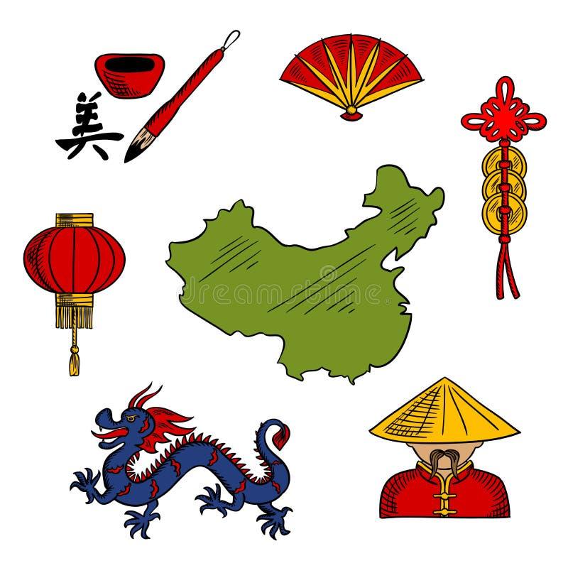 La cultura cinese e la religione hanno schizzato le icone royalty illustrazione gratis