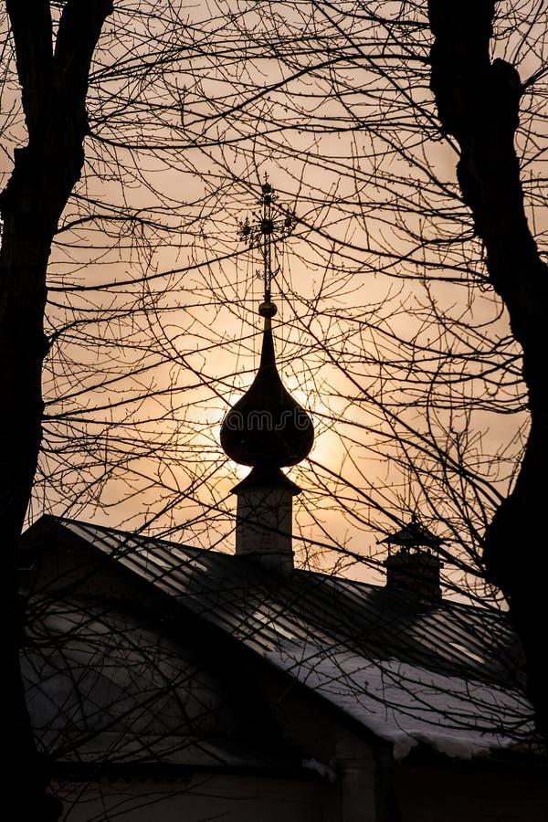 La cupola della chiesa e dei rami con gli alberi nella priorità alta fotografie stock