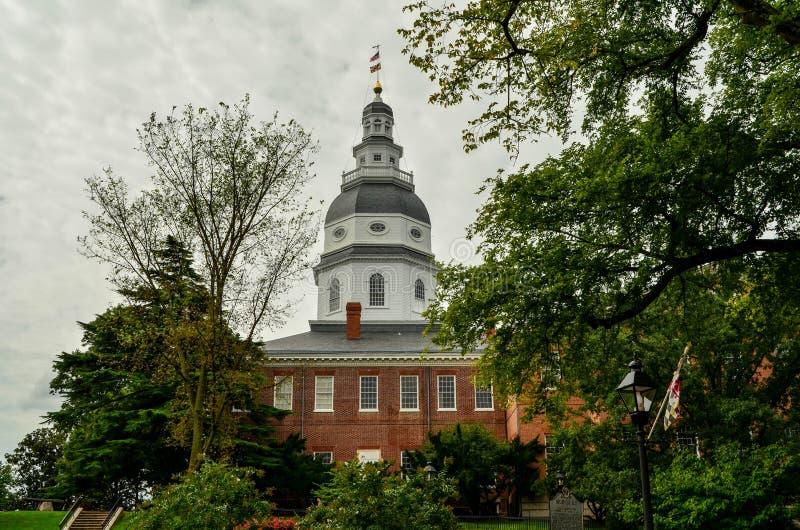 La cupola della costruzione del Campidoglio dello stato di Maryland fotografia stock libera da diritti