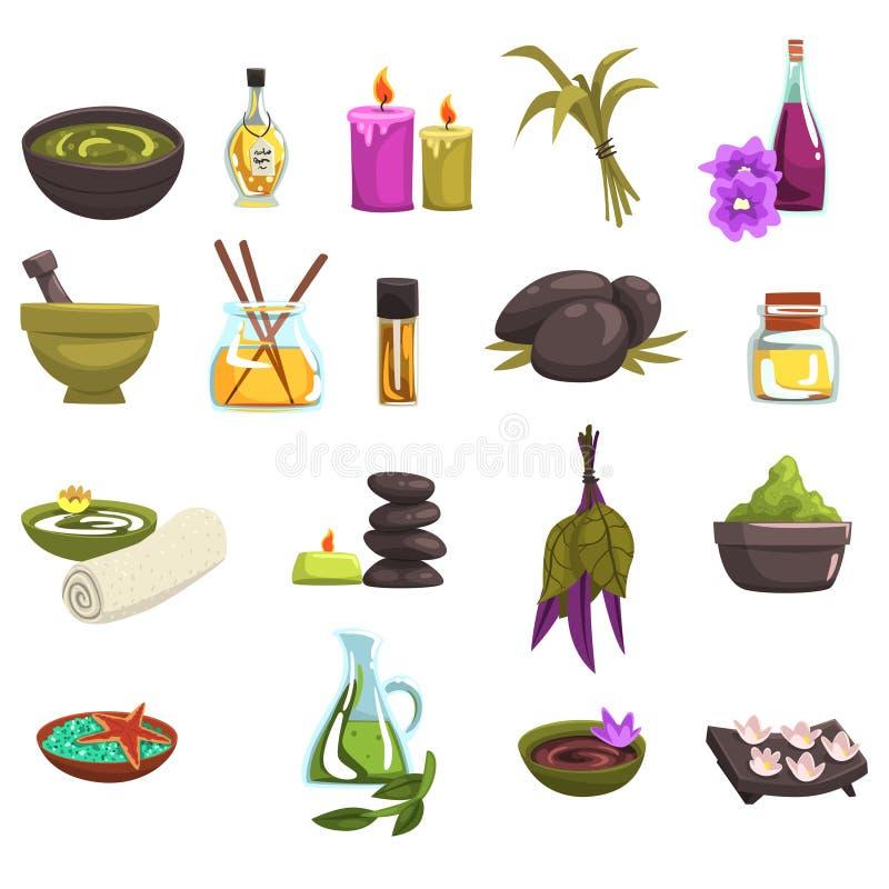 La cura del salone e del corpo della stazione termale progetta l'insieme di elementi Petrolio ed erbe, candele, sale marino, piet illustrazione vettoriale