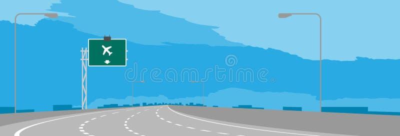 La curva de la carretera o de la autopista y la señalización verde con el aeropuerto firman adentro el ejemplo diurno ilustración del vector