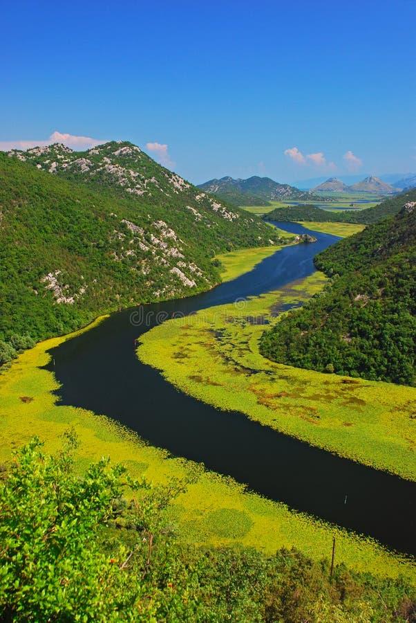 La curva del río en el ‡ próximo a de Skadar Rijeka CrnojeviÄ del lago fotos de archivo