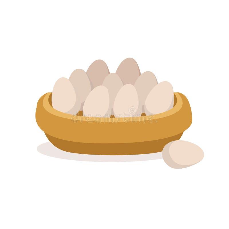La cuvette en bois complètement de ferme fraîche eggs, illustration de vecteur d'élevage de volaille illustration stock