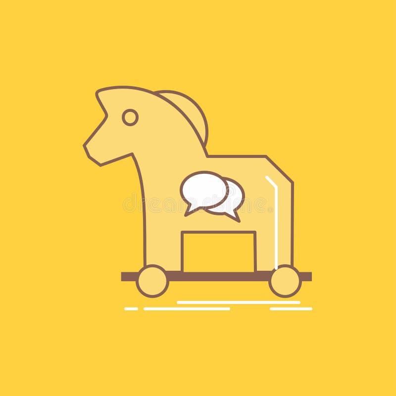 La cybercriminalité, cheval, Internet, Trojan, ligne plate de virus a rempli icône Beau bouton de logo au-dessus de fond jaune po illustration de vecteur