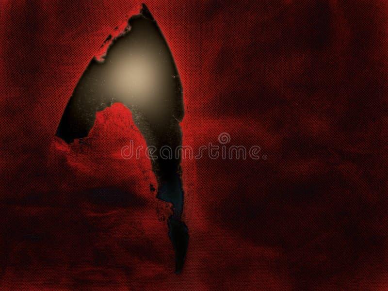 La déchirure, larme dans le tissu indique la lumière images libres de droits