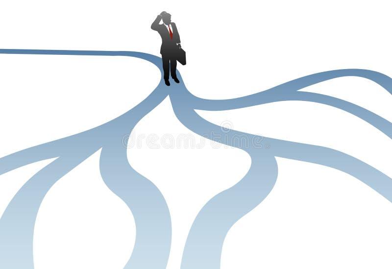 La décision d'homme d'affaires choisissent la confusion de chemins illustration stock