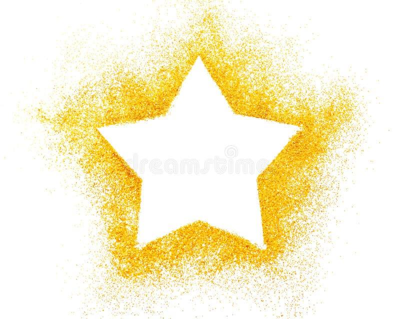 La décoration d'étoile de Noël des confettis d'or se tient le premier rôle contre le blanc images stock