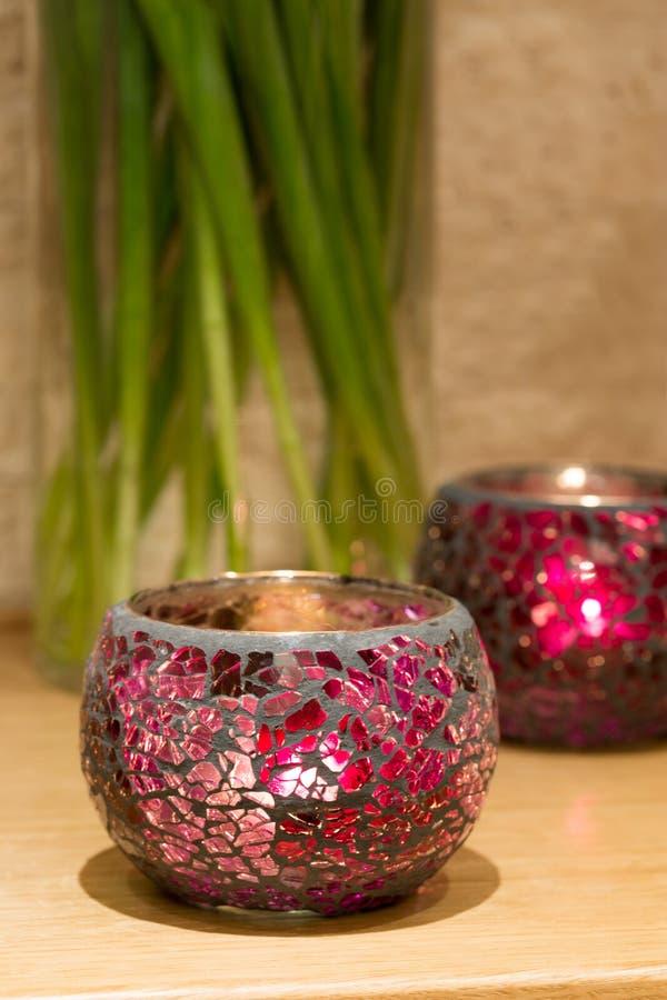 La décoration de chandelier avec les sprauts verts, raillent  image libre de droits