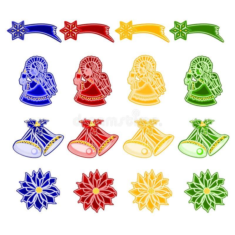 La décoration de Noël et de nouvelle année avec des ornements de Noël en tant que poinsettia de comète d'ange de cloches de faïen illustration stock