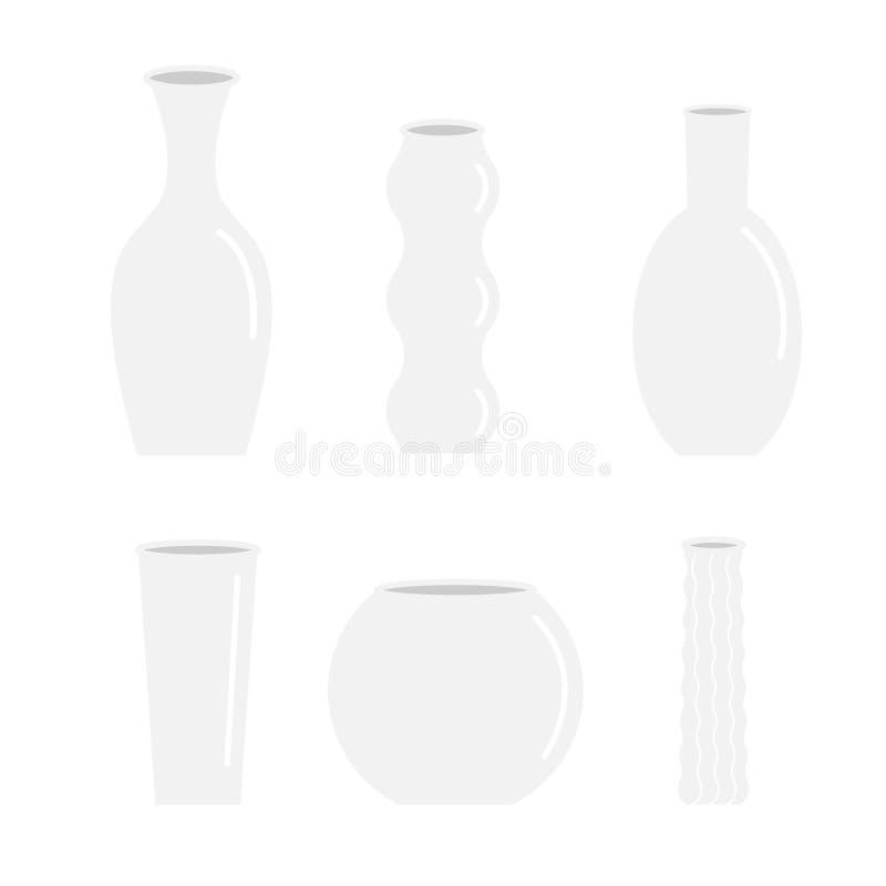 La décoration en verre de fleur de poterie en céramique réglée d'icône de vase a isolé la conception plate illustration stock