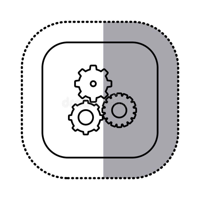 la découpe monochrome avec l'autocollant carré avec des pignons a placé l'icône illustration de vecteur