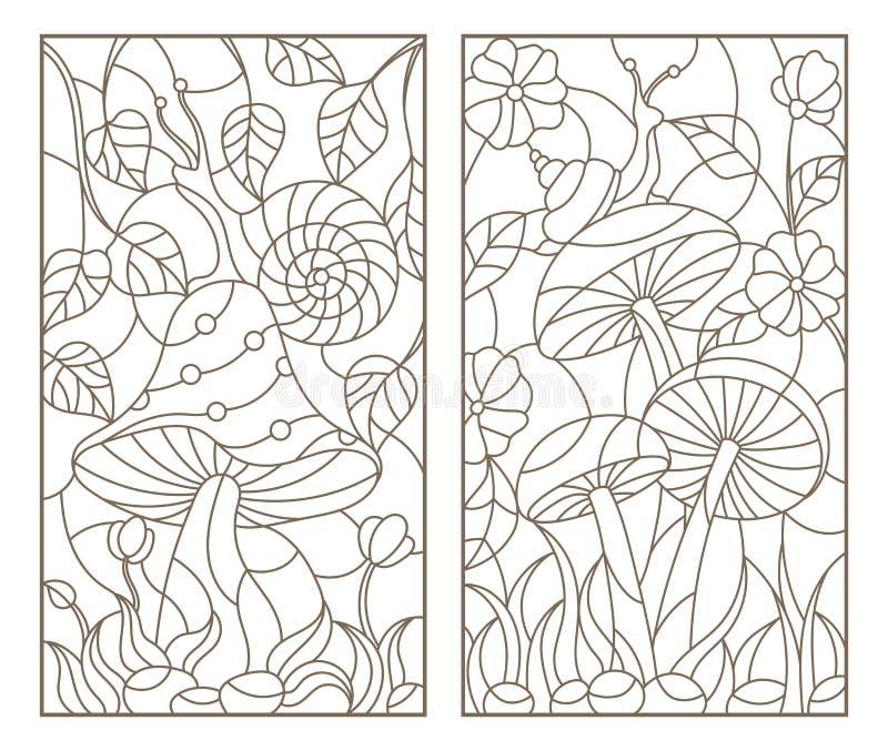 La découpe a placé avec des illustrations dans l'escargot de style en verre souillé sur le champignon, contour foncé sur un fond  illustration de vecteur