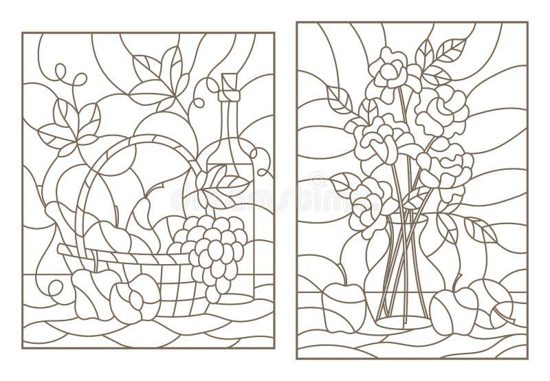 La découpe a placé avec des illustrations dans le style en verre souillé avec la vie immobile, les raisins, le vin et le bouquet  illustration stock