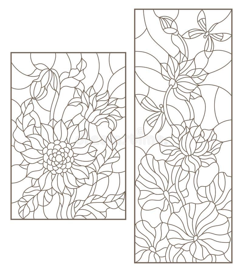 La découpe a placé avec des illustrations de verre souillé avec des fleurs, des tournesols et des fleurs de Lotus avec les libell illustration de vecteur