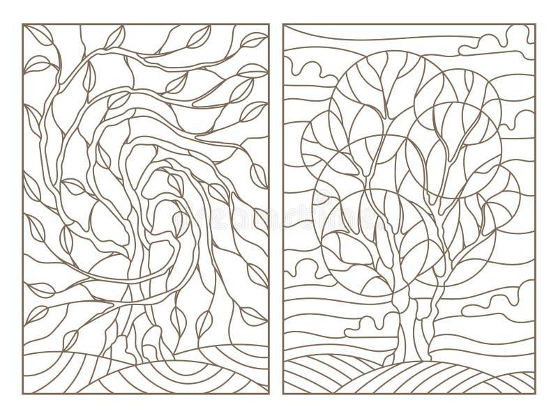 La découpe a placé avec des illustrations de verre souillé avec l'image des arbres illustration libre de droits