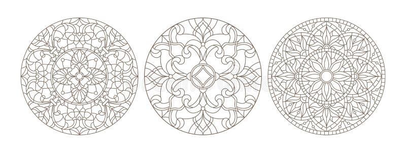 La découpe a placé avec des illustrations de verre souillé, le verre souillé rond floral, contour foncé sur un fond blanc illustration libre de droits