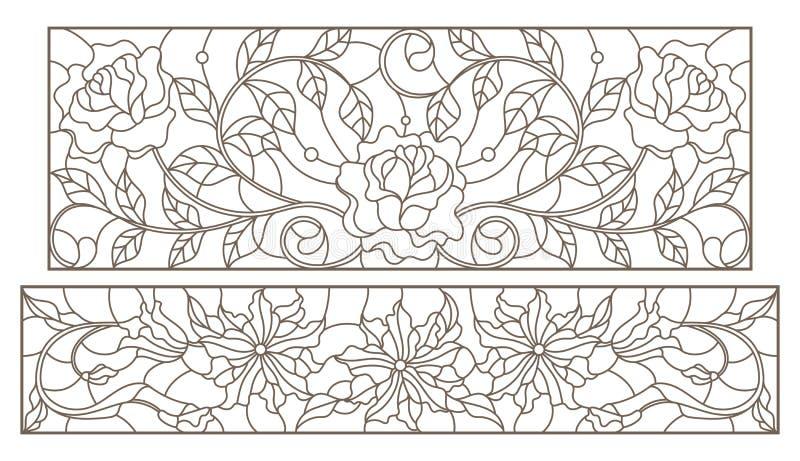 La découpe a placé avec des illustrations en verre souillé avec des arrangements floraux et des roses, contours foncés sur un fon illustration de vecteur