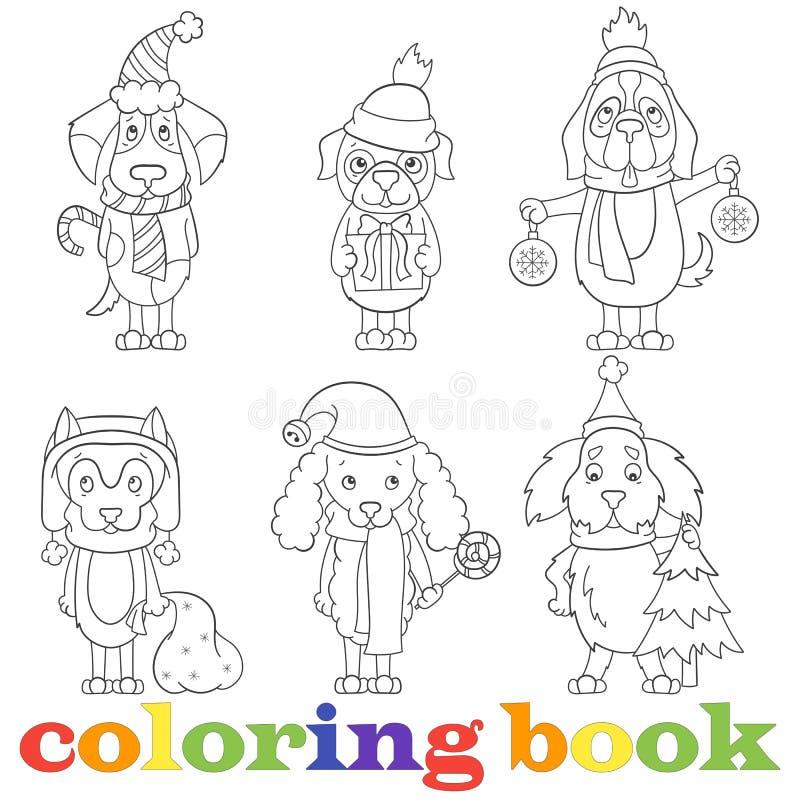 La découpe a placé avec des illustrations avec les chiens drôles de bande dessinée sur le sujet de la nouvelle année et Noël, la  illustration libre de droits