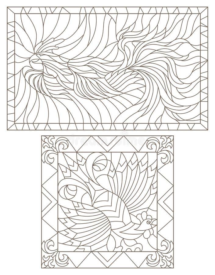 La découpe a placé avec les illustrations des fenêtres en verre teinté avec des coqs, images rectangulaires dans les cadres, déco illustration de vecteur