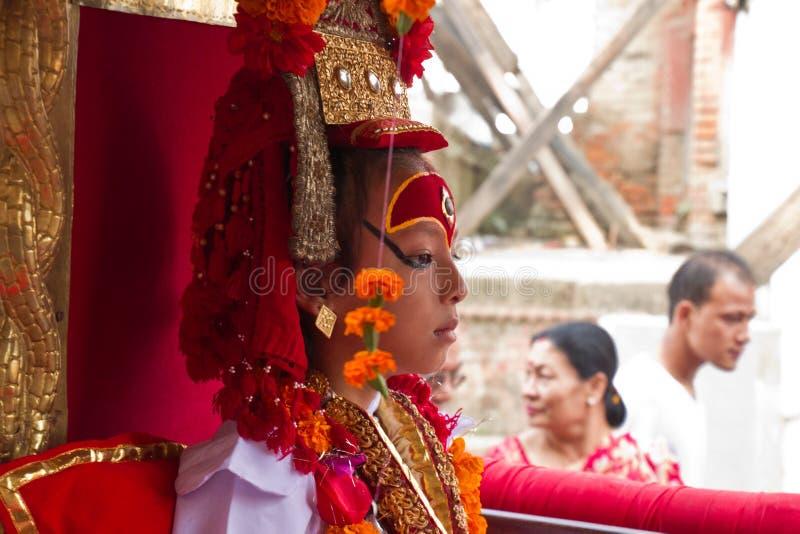 La déesse vivante du Népal, le Kumari, place de Durbar, Katmandou, Ne image stock