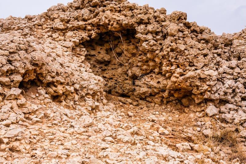 La dénudation fleurie de chaux dans le désert près de Riyadh, Arabie Saoudite photographie stock