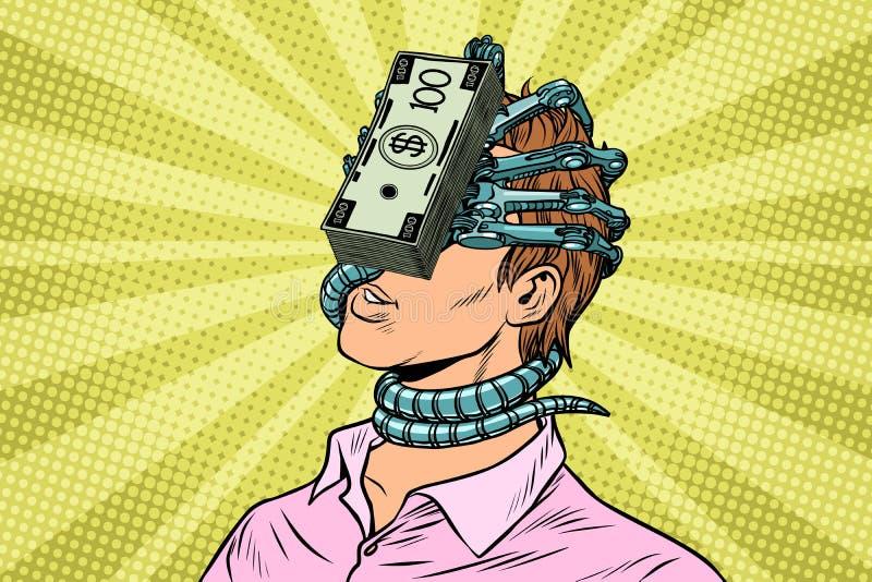 La dépendance financière, un homme avec le parasite d'argent sur le visage illustration stock
