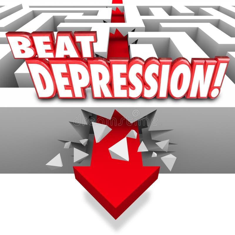 La dépression de battement exprime la maladie de Maze Arrow Overcome Mental Illness illustration stock