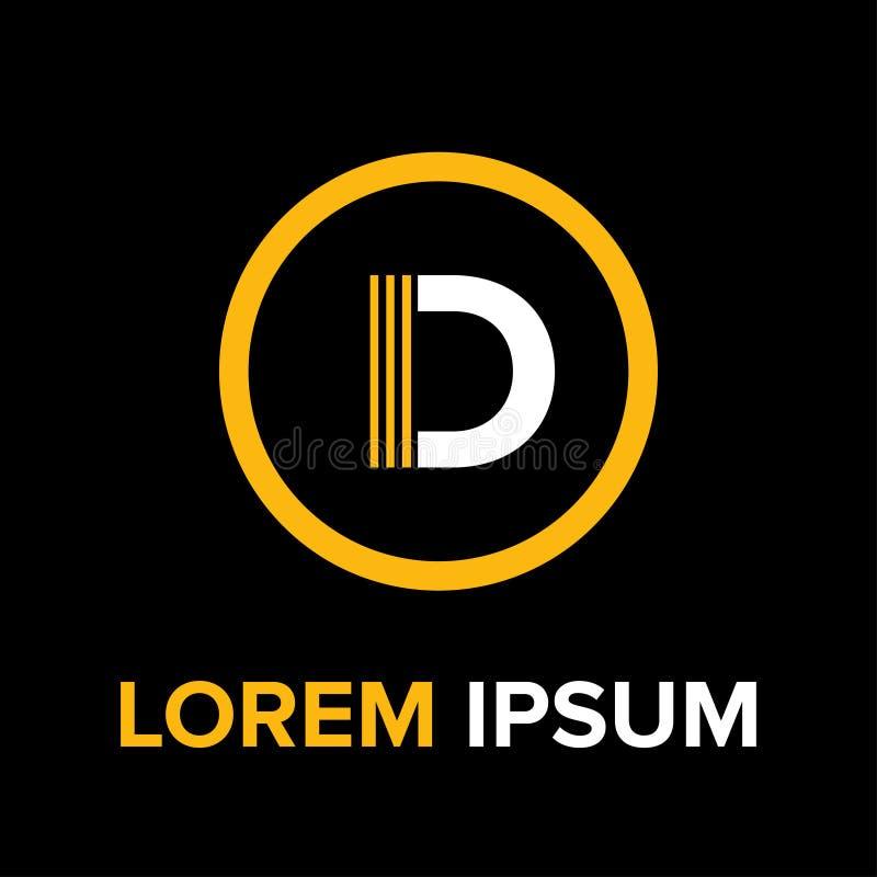 La D segna il logo con lettere per l'affare immagini stock