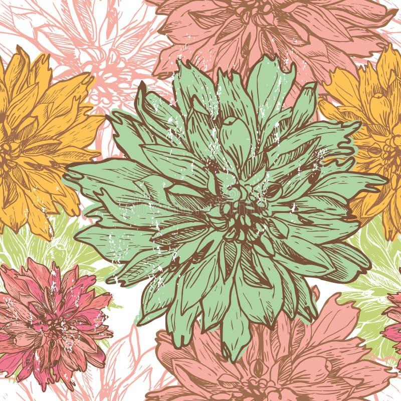 La dalia dibujada mano del vintage florece el modelo inconsútil stock de ilustración
