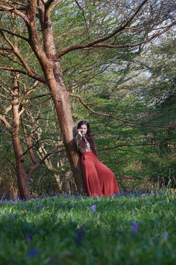 La dame à la mode se penche contre un arbre dans une région boisée anglaise en premier ressort, avec des jacinthes des bois dans  image stock