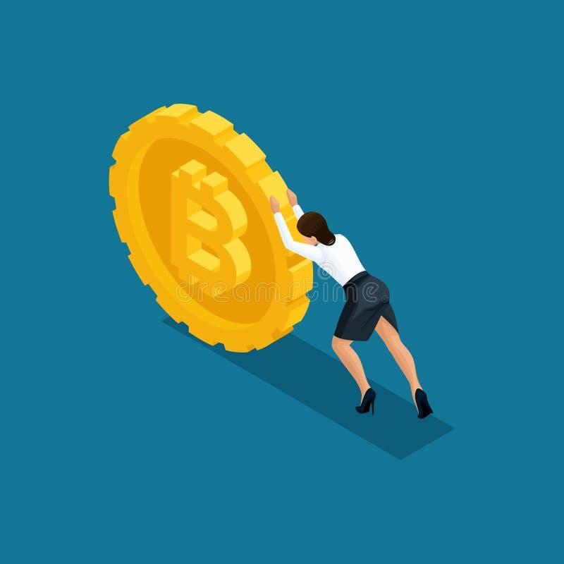La dame isométrique d'affaires pousse un grand bitcoin de pièce de monnaie, exploitation de cryptocurrency de blockchain d'ico, i illustration stock