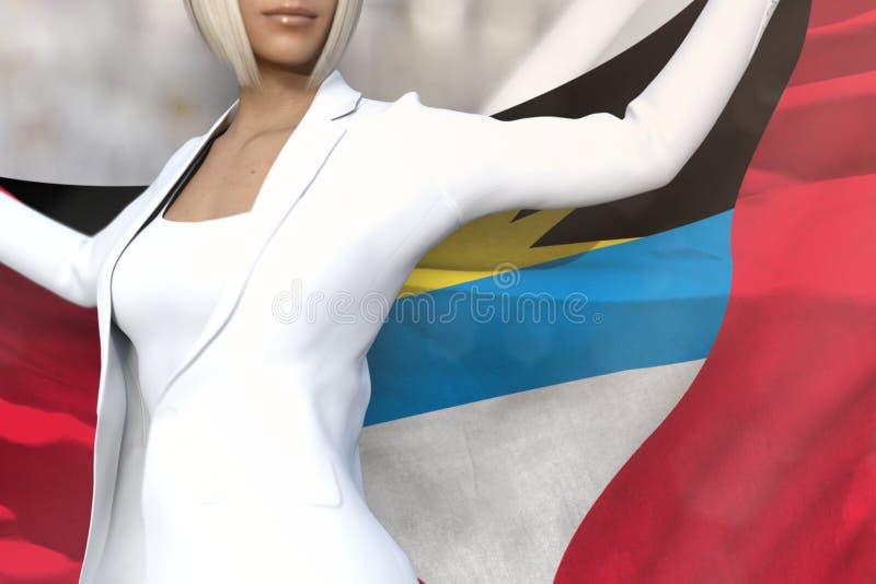 La dame sexy d'affaires tient le drapeau de l'Antigua-et-Barbuda dans des mains derrière son dos sur le fond d'immeuble de bureau illustration de vecteur