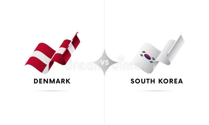 La Danimarca contro la Corea del Sud Calcio Illustrazione di vettore royalty illustrazione gratis