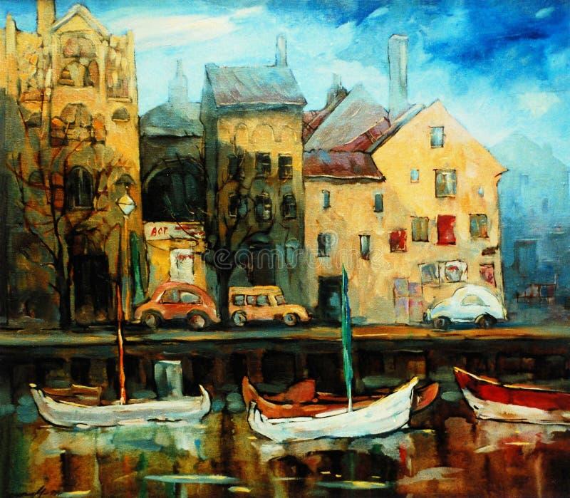 La Danimarca, Copenhaghen, illustrazione, dipingente dall'olio su tela immagine stock