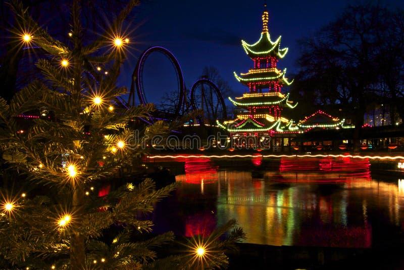La Danimarca: Natale in Tivoli fotografie stock