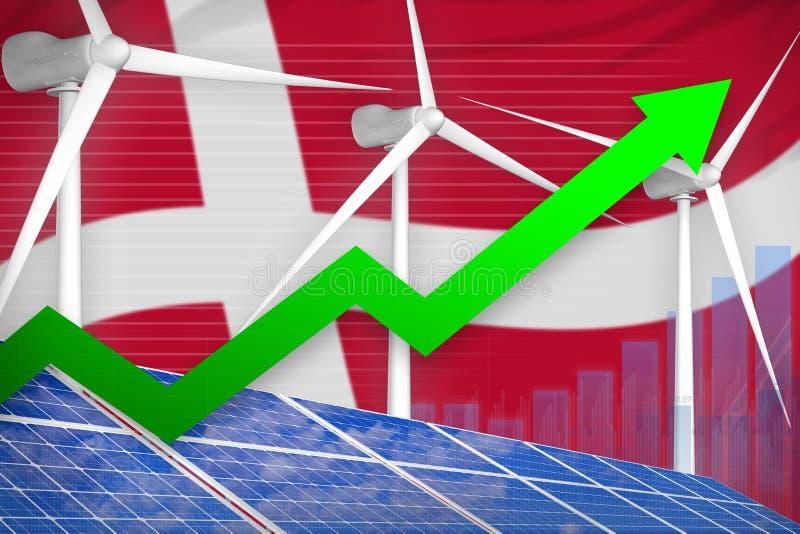 La Danimarca solare e grafico di aumento dell'energia eolica, freccia - sull'illustrazione industriale alternativa di energia nat illustrazione di stock