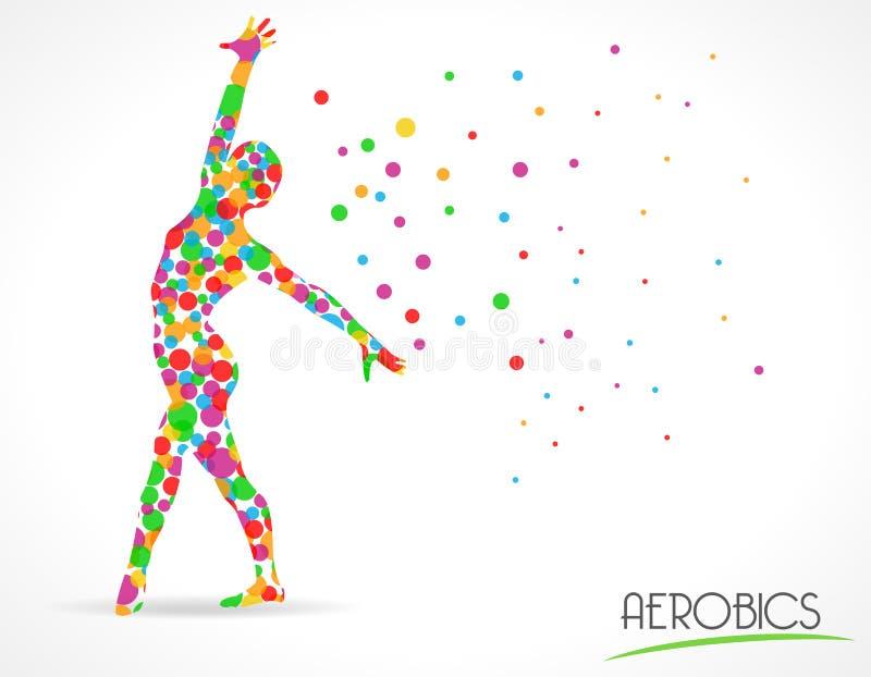 La danse abstraite d'aérobic à amincir, le yoga et la danse pose, graphique plat de style de cercle de couleur illustration de vecteur