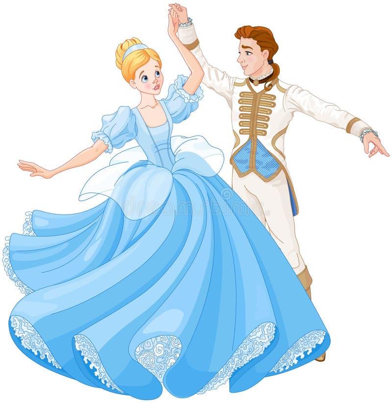La danse de boule de Cendrillon et de prince illustration libre de droits