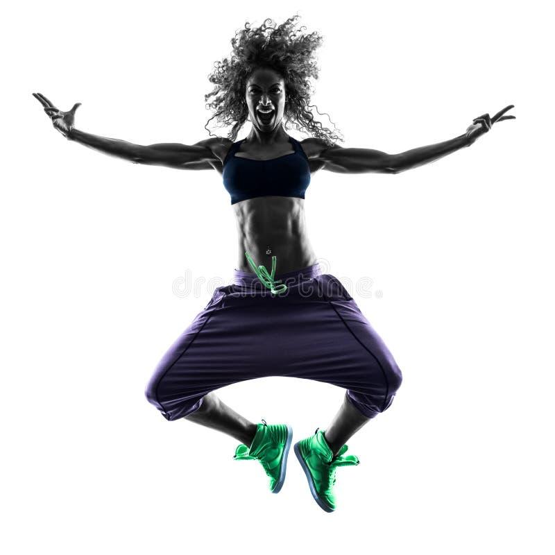La danse de danseur de zumba de femme exerce la silhouette image stock
