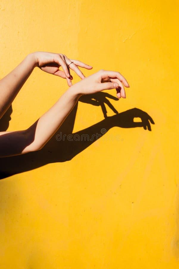 La danse de l'adolescence de fille d'été sous le concept minimal de happines de lumière directe du soleil, se ferment vers le hau images libres de droits