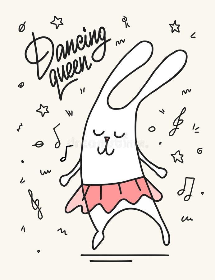 La danse de lapin de bande dessinée aiment une reine de danse Illustration plate animale de vecteur drôle mignon illustration libre de droits