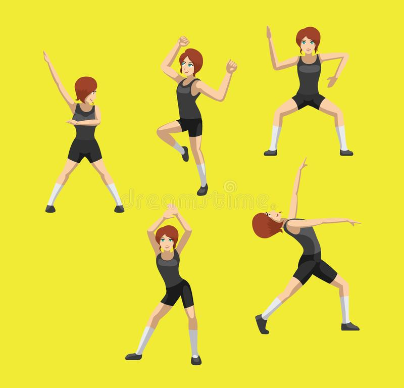 La danse de Zumba de bande dessinée de Manga Style Red Hair Woman pose le vecteur réglé illustration libre de droits